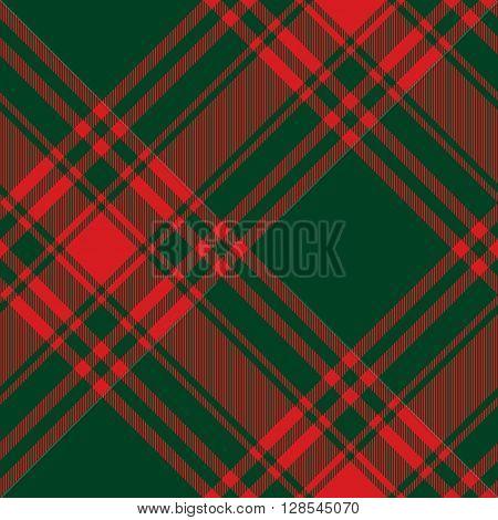 Menzies tartan green red kilt diagonal fabric texture seamless pattern.Vector illustration. EPS 10. No transparency. No gradients.