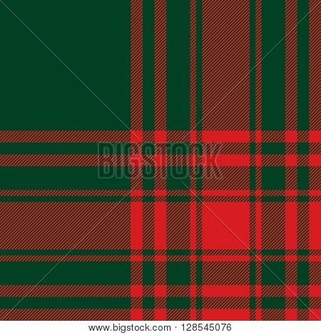 Menzies tartan green red kilt fabric texture seamless pattern.Vector illustration. EPS 10. No transparency. No gradients.