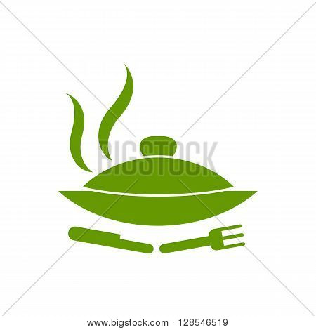 Hot proper meal plate vector illustration icon isolated on the white background.