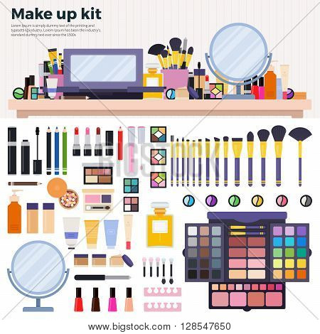Make up kit vector flat illustrations. Decorative cosmetics on the table in the beauty shop. Beauty and make up concept. Lipsticks, palette of eyeshadow, parfume, powder, mirror,  isolated on white background