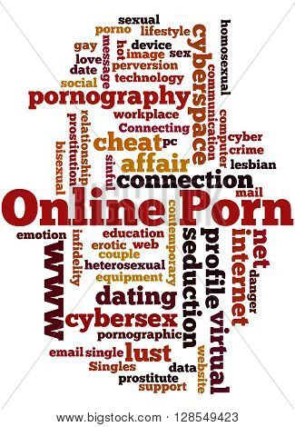 Online Porn word cloud concept on white background. poster