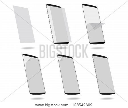 Black smart phones protection film on screen set different stages. Vector illustration. EPS 10. No gradients. Raw materials are easy to edit.