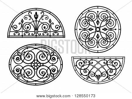 Set of forged lattices semicircular round oval to classical windows and doors in vector graphics