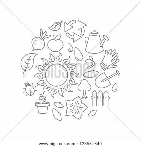 Round Illustration Gardening Theme
