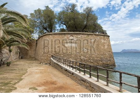Part of the old Venetian city wall of Chania in Crete Greece