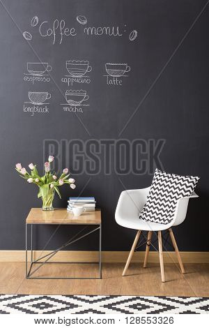 Shot of a modern cosy interior with a coffee menu on a chalkboard wall