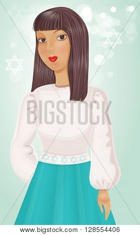 Illustration of Israeli Jewish girl in blue and white.