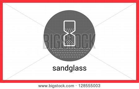 Sandglass contour outline vector icon. Hour-glass linear pictogram