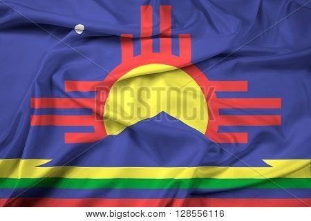 Waving Flag of Roswell New Mexico, with beautiful satin background.