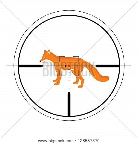 Vector illustration of a rifle crosshair aiming a fox. Animal target of hunting