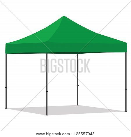 Green folding tent vector illustration. Pop up gazebo. Canopy tent