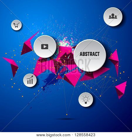 stock vector geometric polygonal elements scientific future technology concept template with icons and options. Infographic template. Company structure scheme. Geometric Polygonal Elements. Scientific Future Technology Concept. Design element in vector.