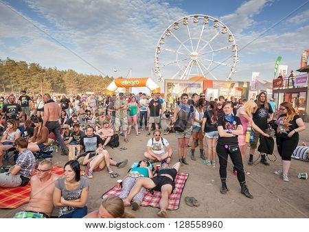 Kostrzyn Nad Odra, Poland - August 1, 2015: People Waiting For Concert In Front Of Main Stage On The