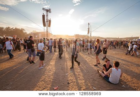 Kostrzyn Nad Odra, Poland - August 1, 2015: People Waiting For Concert At Sunset On The 21Th Woodsto