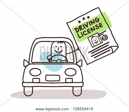 cartoon characters and car - driving license