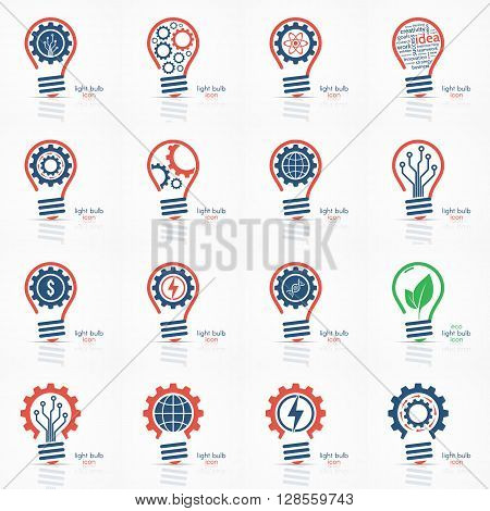 Light bulb idea icon set. Light bulb logo, light bulb sign, light bulb symbol. Business idea concept.