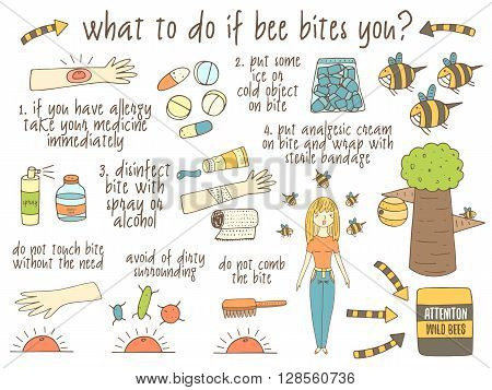 Infographic about what to do if bee bites you. Hand drawn doodle objects collection uncluding bee tree hand girl ice medicine gel spray bite. Tips advice collection