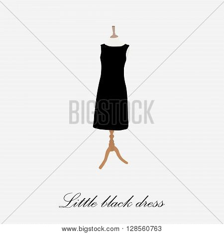 Black dress on mannequin vector illustration. Cocktail dress. Woman black dress icon. Little black dress