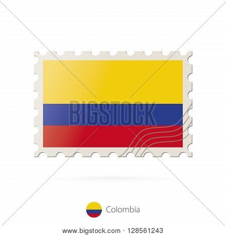 Postage Stamp With The Image Of Colombia Flag.