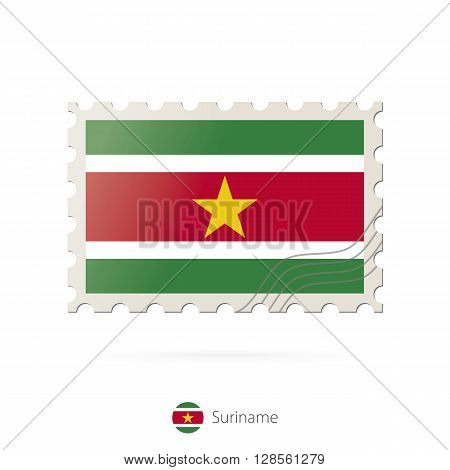 Postage Stamp With The Image Of Suriname Flag.