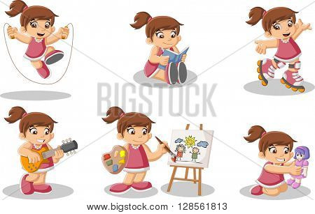 Cute happy cartoon girl playing. Sports and toys.