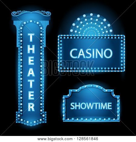 Brightly blue theater glowing retro cinema neon sign