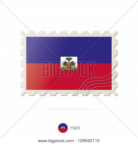 Postage Stamp With The Image Of Haiti Flag.