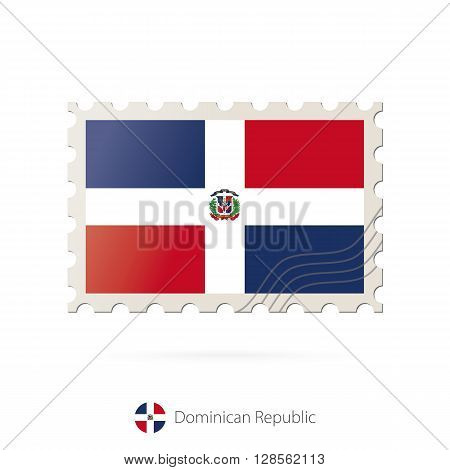 Postage Stamp With The Image Of Dominican Republic Flag.