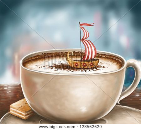 closeup illustration of a cup of cappuccino with a Viking ship gliding through its milky froth