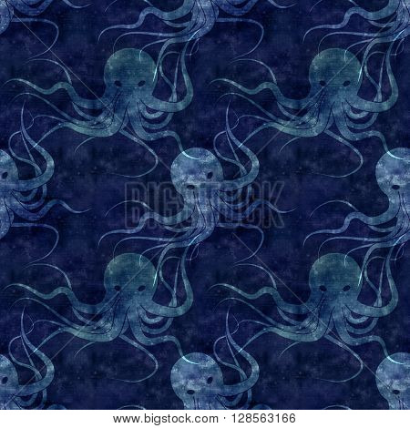 Seamless Repeatable Sea Monster Kraken Pattern