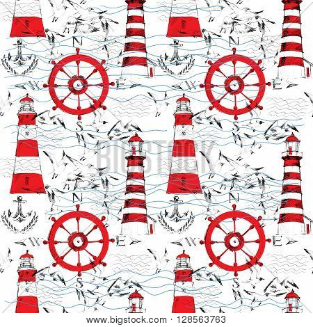 Seamless pattern with lighthouses, sea gull, anchors. Nautical pattern. Seamless marine pattern. Marine background. Nautical background. Hand drawn vintage Nautical seamless pattern.