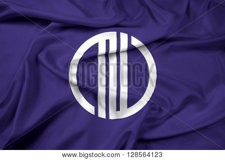 Waving Flag of Sendai Japan, with beautiful satin background.