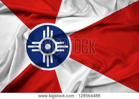 Waving Flag of Wichita Kansas, with beautiful satin background.