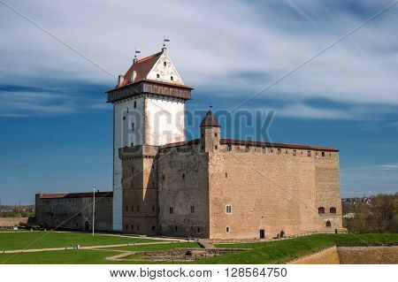 Narva Estonia - Herman Castle on the banks of the river opposite the Ivangorod fortress. Built by the Swedes in the 14th century.