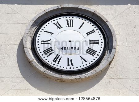 The broken clock of Saint Joseph Cathedral in Noumea city (New Caledonia).