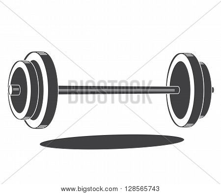 Monochrome barbell icon, vector illustration isolated on white