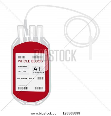 Vector illustration blood bag with label A positive blood isolated on white. Donate blood concept. Realistic blood bag