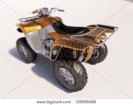 3d render: ATV quad bike, studio shooting, soft lighting