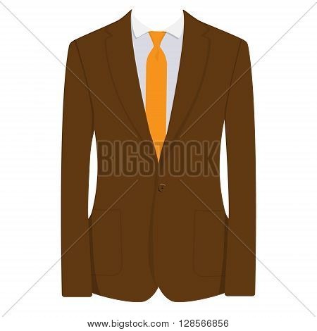 Vector illustration of brown man suit with orange tie and white shirt isolated on white background. Business suit business mens suit man in suit