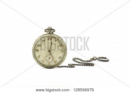 portrait of an old silver pocket watch