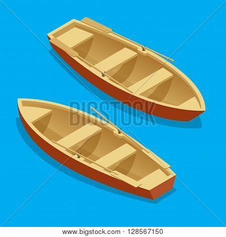 Rowing boat set. Wooden boat with paddles isolated. Flat 3d isometric vector illustration