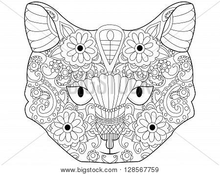 Cat coloring book for adults vector illustration. Kitten anti-stress coloring for adult. Feline zentangle style. Black and white lines. Lace pattern