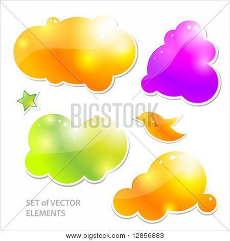 Collection of brightly colored, glossy web elements. eps10