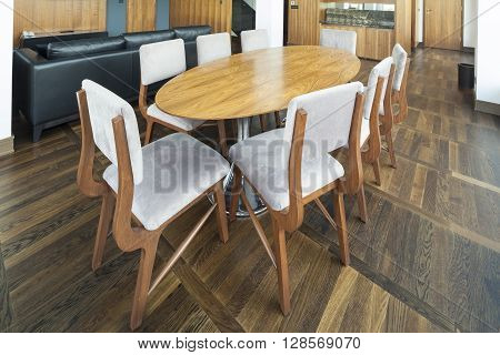 table in open plan living room of a luxury duplex apartment