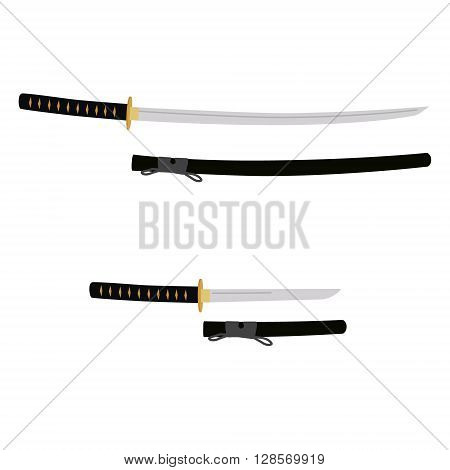 Vector illustration japanese katana and tanto sword in scabbard. Samurai sword traditional weapon