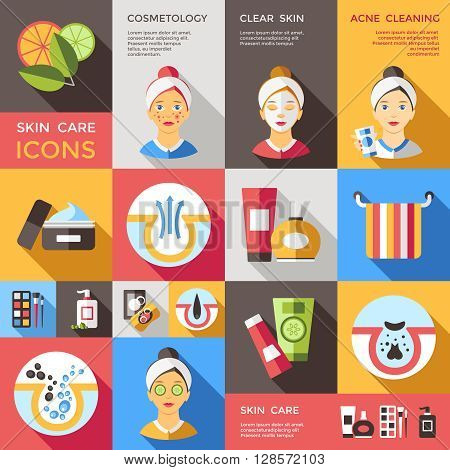 Skin care decorative icons set with faces of girls dispensers tubes creams towel cosmetic isolated vector illustration