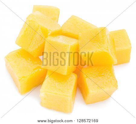 Mango cubes. Isolated on a white background.