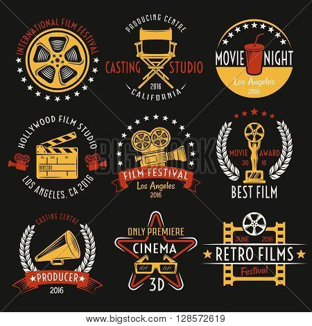 Cinema retro style emblems set with inscriptions film equipment award drink on black background isolated vector illustration