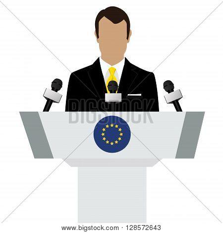 Vector illustration presentation conference concept. Speaker man in suit speaking from tribune. EU european union flag on podium tribune