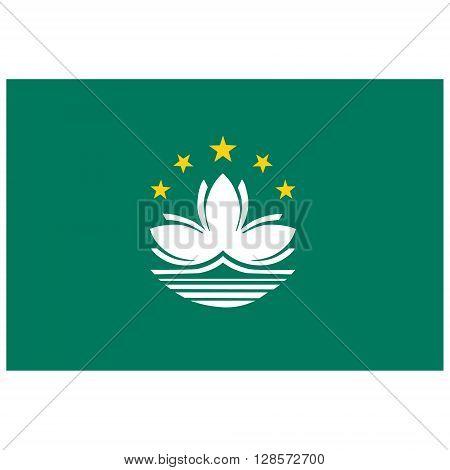 Vector illustration Macao flag vector icon. Rectangular national flag of Macau. Macao flag button
